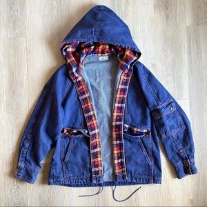 Blue Denim Red Plaid Hooded Utility Jean Jacket